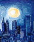 PIRANDA Giancarlo - Moonlight in New York, olio su carta, cm 26x34, 1998